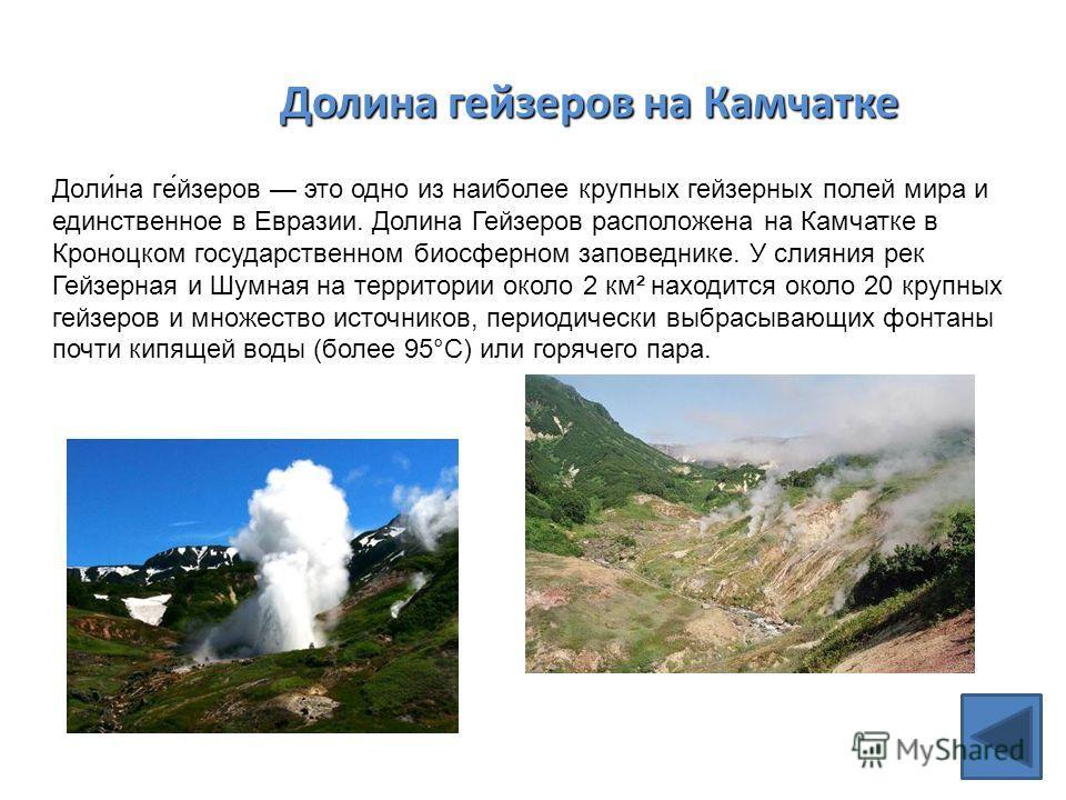 Долина гейзеров на Камчатке Доли́на ге́йзеров это одно из наиболее крупных гейзерных полей мира и единственное в Евразии. Долина Гейзеров расположена на Камчатке в Кроноцком государственном биосферном заповеднике. У слияния рек Гейзерная и Шумная на