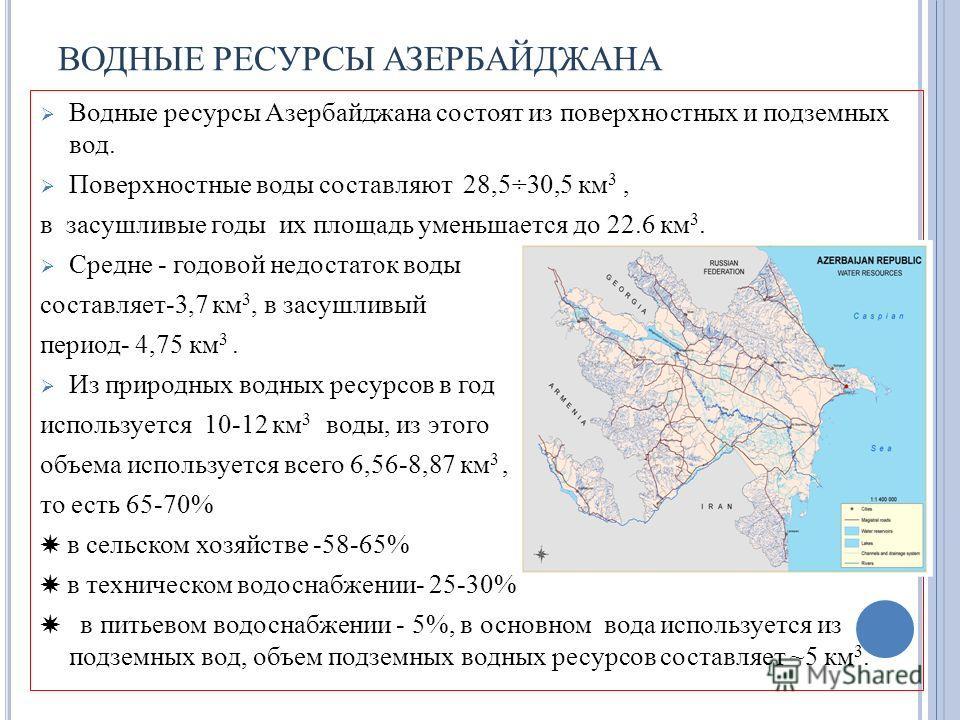 ВОДНЫЕ РЕСУРСЫ АЗЕРБАЙДЖАНА Водные ресурсы Азербайджана состоят из поверхностных и подземных вод. Поверхностные воды составляют 28,5÷30,5 км 3, в засушливые годы их площадь уменьшается до 22.6 км 3. Средне - годовой недостаток воды составляет-3,7 км