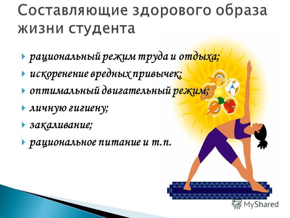 рациональный режим труда и отдыха; искоренение вредных привычек; оптимальный двигательный режим; личную гигиену; закаливание; рациональное питание и т.п.