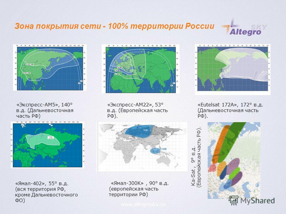 «Ямал-300К», 90° в.д. (европейская часть территории РФ) «Ямал-402», 55° в.д. (вся территория РФ, кроме Дальневосточного ФО) «Экспресс-АМ22», 53° в.д. (Европейская часть РФ). «Экспресс-АМ5», 140° в.д. (Дальневосточная часть РФ) «Eutelsat 172A», 172° в