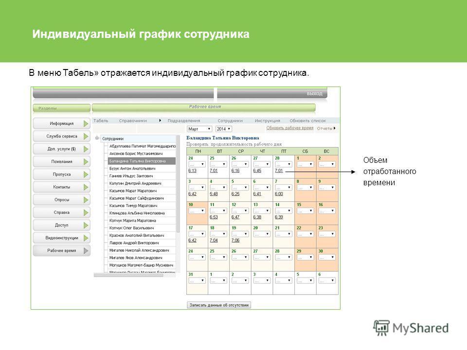 Индивидуальный график сотрудника В меню Табель» отражается индивидуальный график сотрудника. Объем отработанного времени