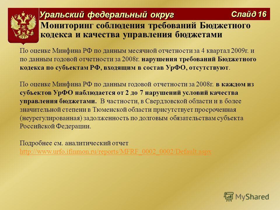 Уральский федеральный округ Слайд 16 Мониторинг соблюдения требований Бюджетного кодекса и качества управления бюджетами По оценке Минфина РФ по данным месячной отчетности за 4 квартал 2009 г. и по данным годовой отчетности за 2008 г. нарушения требо