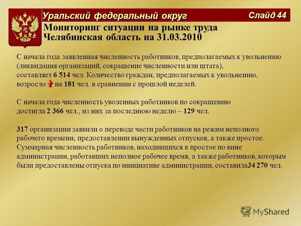 Уральский федеральный округ Слайд 44 Мониторинг ситуации на рынке труда Челябинская область на 31.03.2010 С начала года заявленная численность работников, предполагаемых к увольнению (ликвидация организаций, сокращение численности или штата), составл
