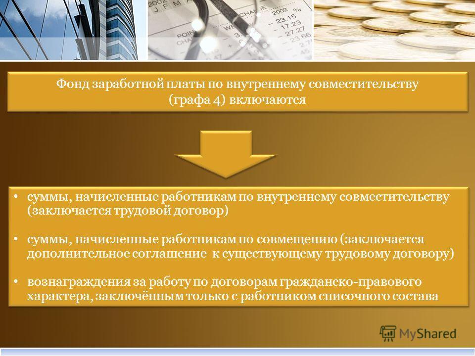Фонд заработной платы по внутреннему совместительству (графа 4) включаются Фонд заработной платы по внутреннему совместительству (графа 4) включаются суммы, начисленные работникам по внутреннему совместительству (заключается трудовой договор) суммы,