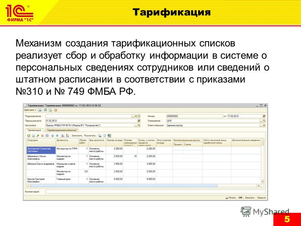 5 Тарификация Механизм создания тарификационных списков реализует сбор и обработку информации в системе о персональных сведениях сотрудников или сведений о штатном расписании в соответствии с приказами 310 и 749 ФМБА РФ.