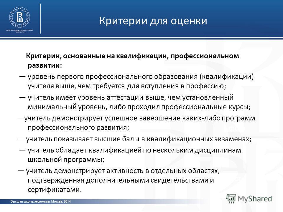 Высшая школа экономики, Москва, 2014 фото Критерии для оценки Критерии, основанные на квалификации, профессиональном развитии: уровень первого профессионального образования (квалификации) учителя выше, чем требуется для вступления в профессию; учител
