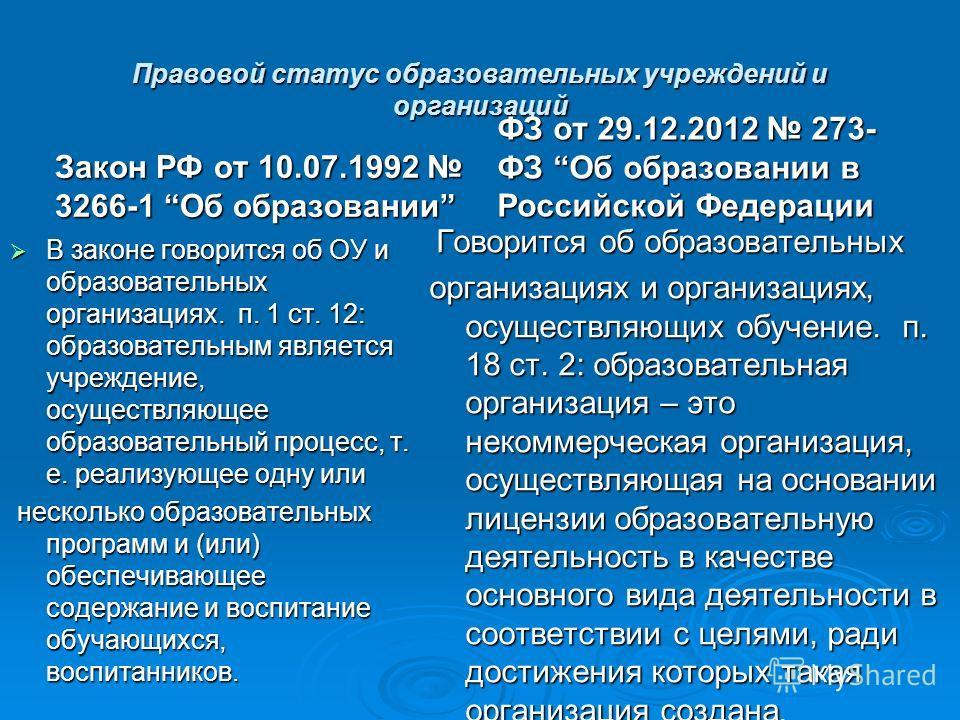 Правовой статус образовательных учреждений и организаций Закон РФ от 10.07.1992 3266-1 Об образовании В законе говорится об ОУ и образовательных организациях. п. 1 ст. 12: образовательным является учреждение, осуществляющее образовательный процесс, т