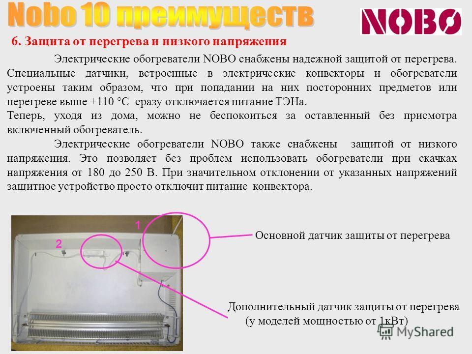 Электрические обогреватели NOBO снабжены надежной защитой от перегрева. Специальные датчики, встроенные в электрические конвекторы и обогреватели устроены таким образом, что при попадании на них посторонних предметов или перегреве выше +110 °С сразу