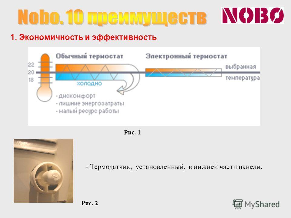 1. Экономичность и эффективность - Термодатчик, установленный, в нижней части панели. Рис. 1 Рис. 2