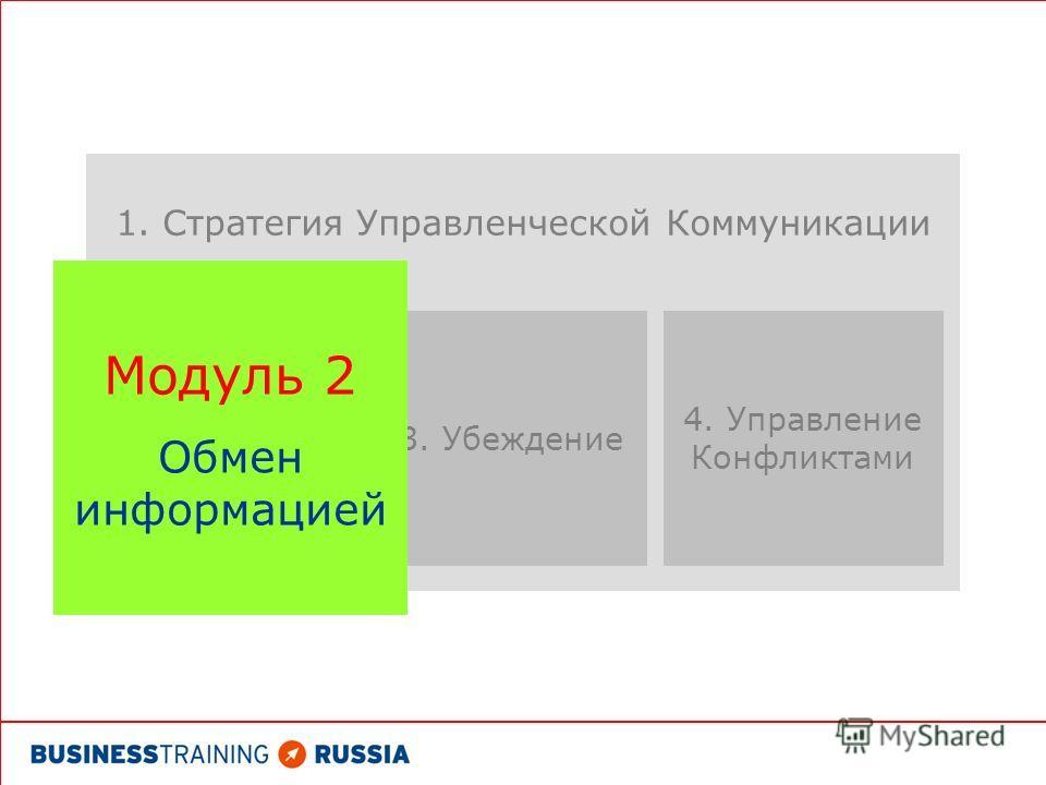 1. Стратегия Управленческой Коммуникации 4. Управление Конфликтами 3. Убеждение Модуль 2 Обмен информацией