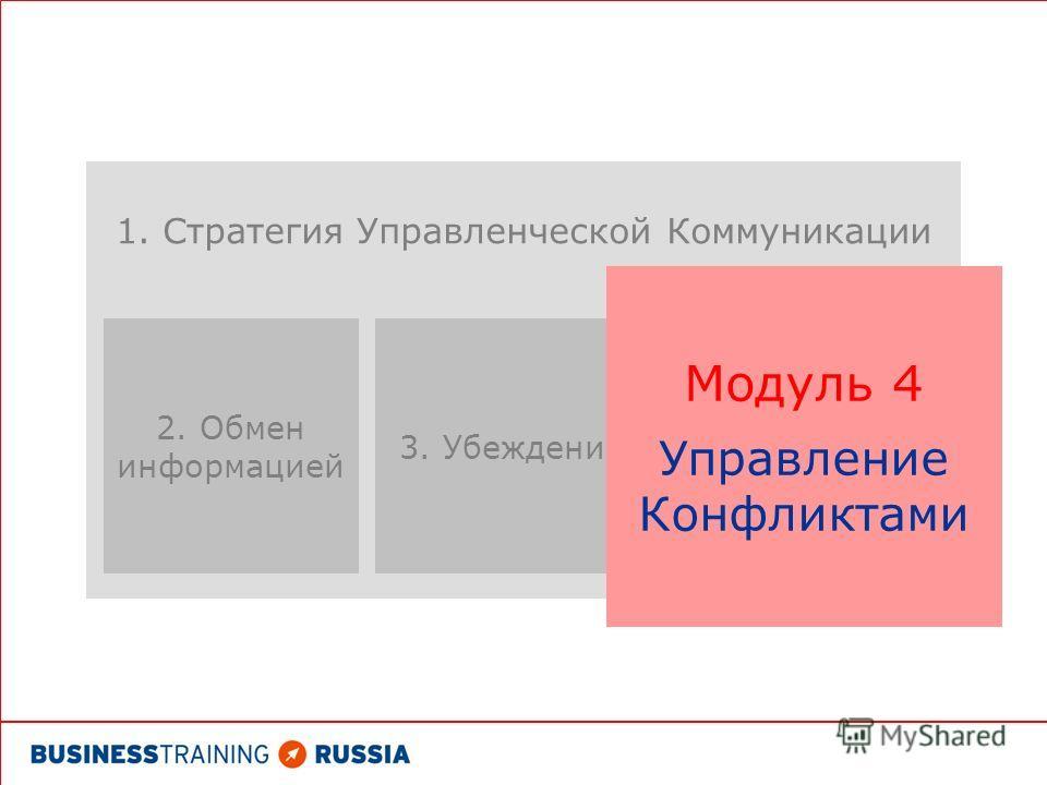 1. Стратегия Управленческой Коммуникации 2. Обмен информацией 3. Убеждение Модуль 4 Управление Конфликтами