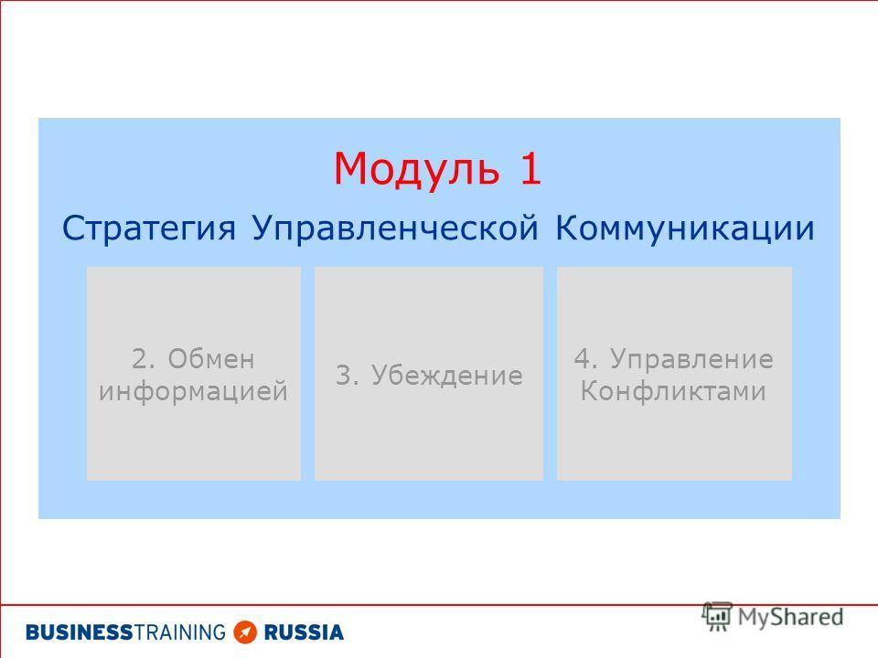 Модуль 1 Стратегия Управленческой Коммуникации 4. Управление Конфликтами 2. Обмен информацией 3. Убеждение