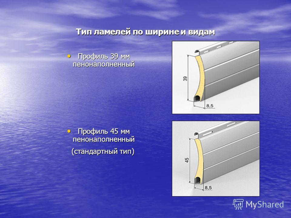Тип ламелей по ширине и видам Профиль 39 мм пенонаполненный Профиль 39 мм пенонаполненный Профиль 45 мм пенонаполненный Профиль 45 мм пенонаполненный (стандартный тип) (стандартный тип)