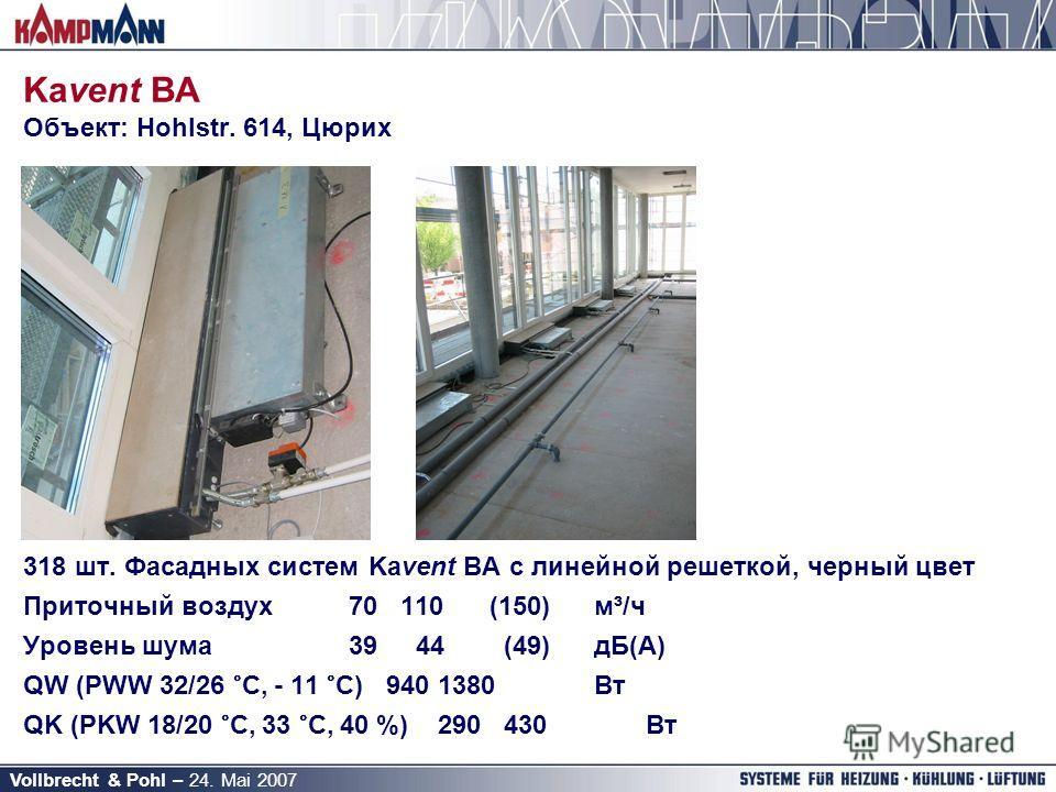 Vollbrecht & Pohl – 24. Mai 2007 Kavent BA Объект: Hohlstr. 614, Цюрих 318 шт. Фасадных систем Kavent BA с линейной решеткой, черный цвет Приточный воздух 70 110(150)м³/ч Уровень шума 39 44 (49)дБ(A) QW (PWW 32/26 °C, - 11 °C)9401380Вт QK (PKW 18/20