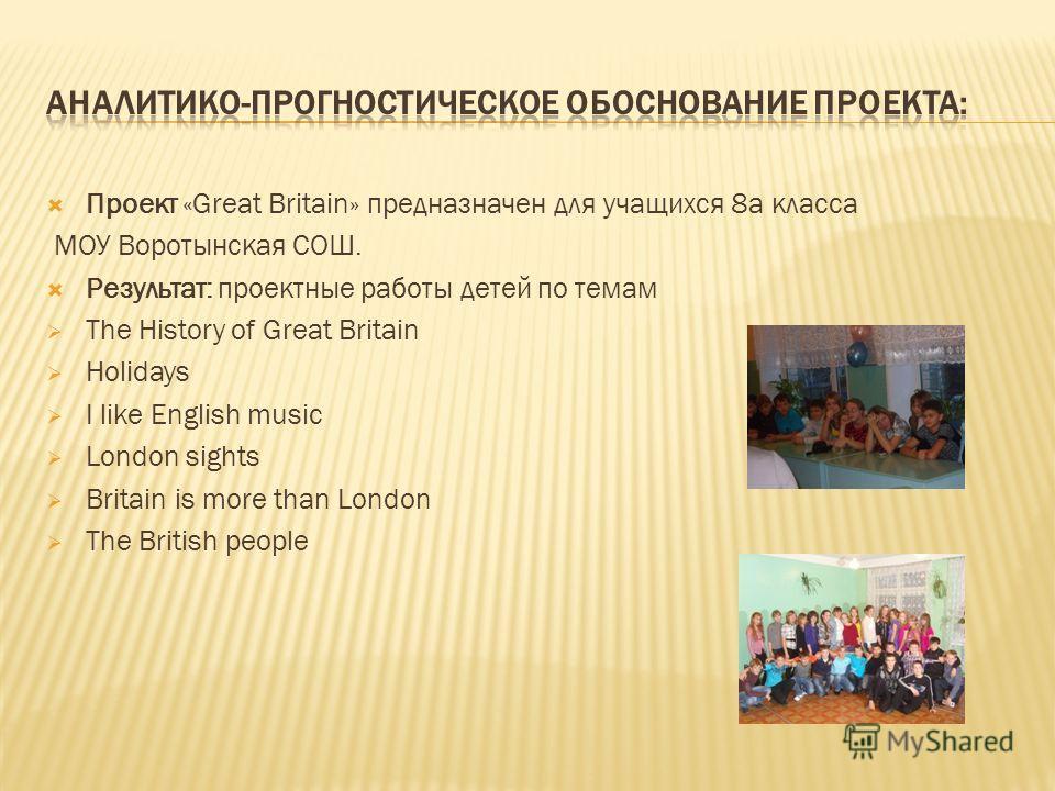 Проект «Great Britain» предназначен для учащихся 8 а класса МОУ Воротынская СОШ. Результат: проектные работы детей по темам The History of Great Britain Holidays I like English music London sights Britain is more than London The British people