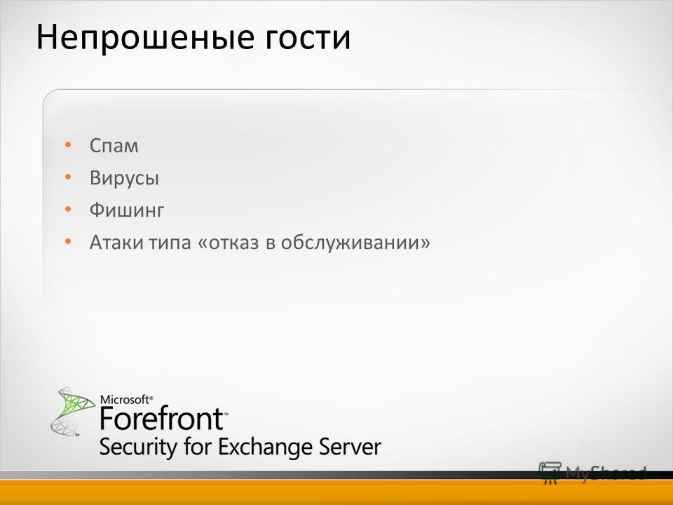 Непрошеные гости Спам Вирусы Фишинг Атаки типа «отказ в обслуживании»