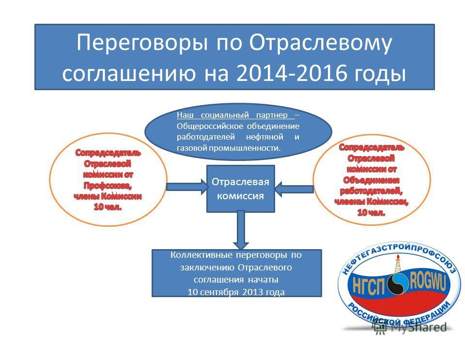 Переговоры по Отраслевому соглашению на 2014-2016 годы Наш социальный партнер – Общероссийское объединение работодателей нефтяной и газовой промышленности. Отраслевая комиссия Коллективные переговоры по заключению Отраслевого соглашения начаты 10 сен