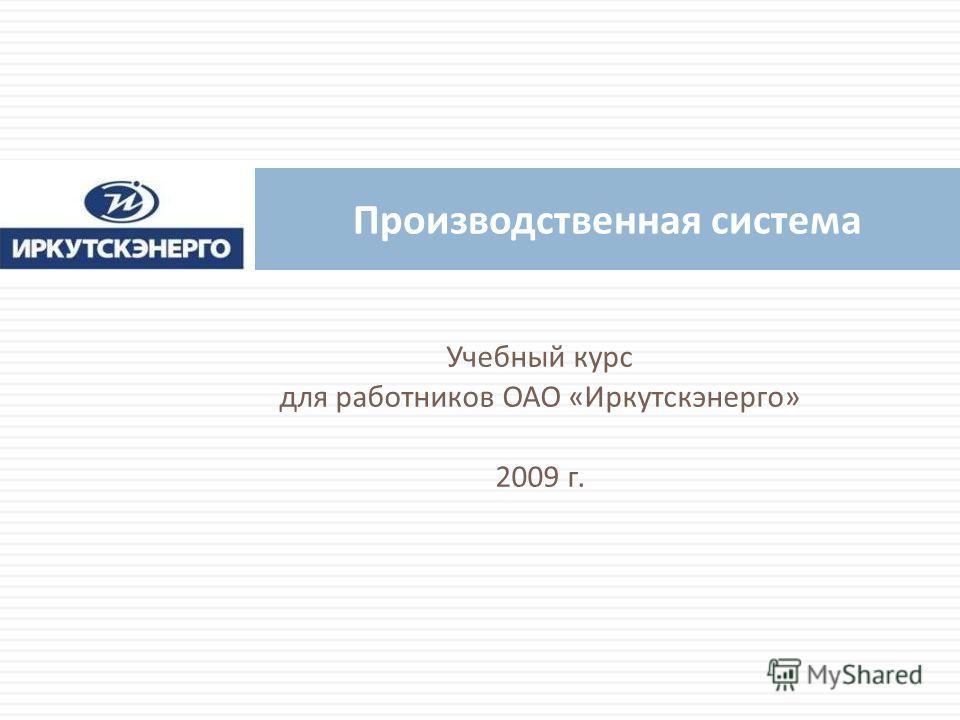 Учебный курс для работников ОАО « Иркутскэнерго » 2009 г. Производственная система