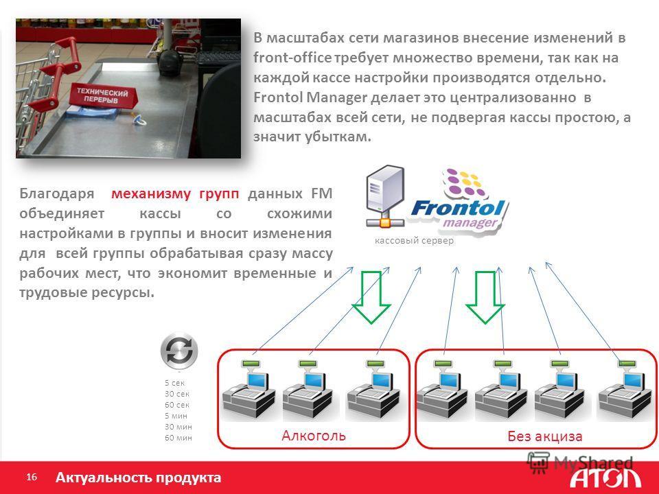 16 Актуальность продукта В масштабах сети магазинов внесение изменений в front-office требует множество времени, так как на каждой кассе настройки производятся отдельно. Frontol Manager делает это централизованно в масштабах всей сети, не подвергая к
