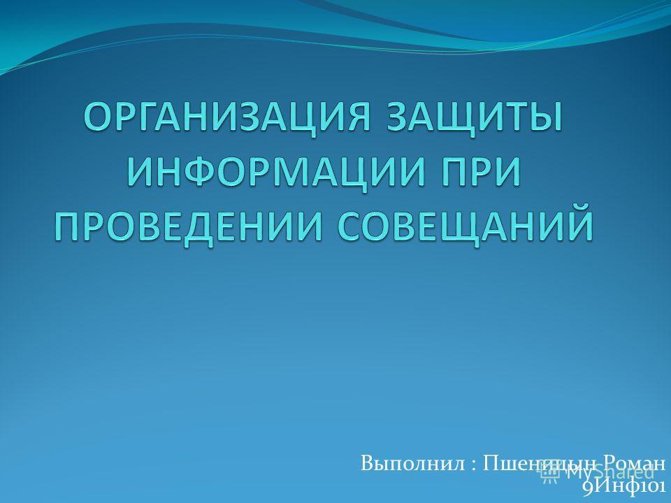 Выполнил : Пшеницын Роман 9Инф 101