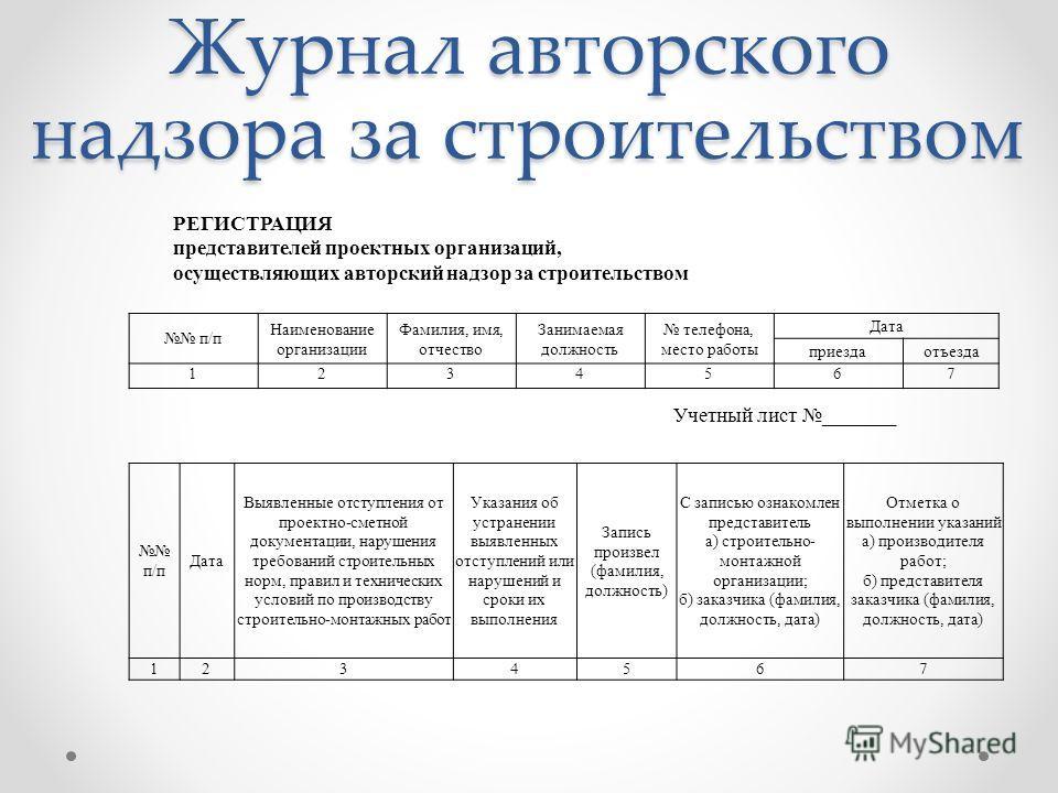 Пример заполнения Журнала Авторского Надзора за Строительством