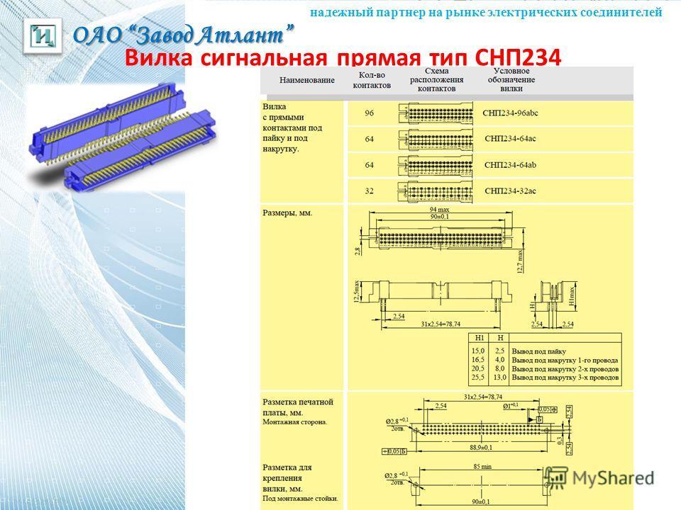 ОАО Завод Атлант надежный партнер на рынке электрических соединителей Вилка сигнальная прямая тип СНП234