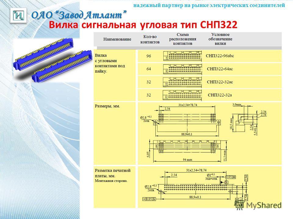 ОАО Завод Атлант надежный партнер на рынке электрических соединителей Вилка сигнальная угловая тип СНП322
