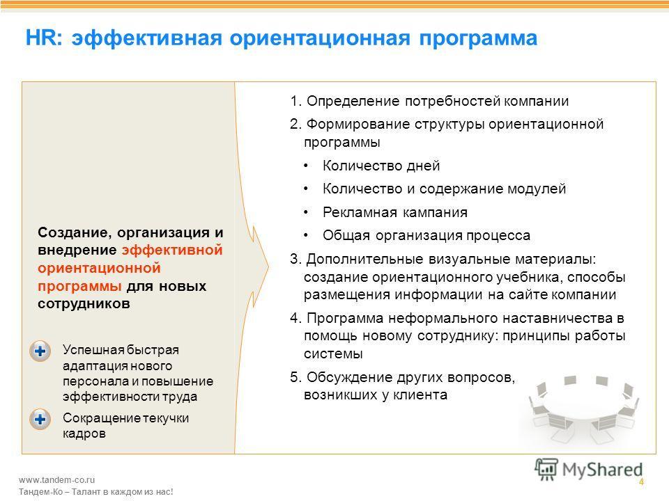 www.tandem-co.ru Тандем-Ко – Талант в каждом из нас! HR: эффективная ориентационная программа 4 1. Определение потребностей компании 2. Формирование структуры ориентационной программы Количество дней Количество и содержание модулей Рекламная кампания