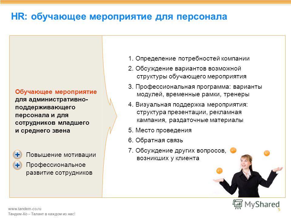 www.tandem-co.ru Тандем-Ко – Талант в каждом из нас! HR: обучающее мероприятие для персонала 5 1. Определение потребностей компании 2. Обсуждение вариантов возможной структуры обучающего мероприятия 3. Профессиональная программа: варианты модулей, вр