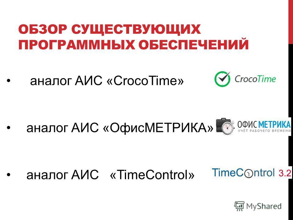 ОБЗОР СУЩЕСТВУЮЩИХ ПРОГРАММНЫХ ОБЕСПЕЧЕНИЙ аналог АИС «CrocoTime» аналог АИС «ОфисМЕТРИКА» аналог АИС «TimeControl»