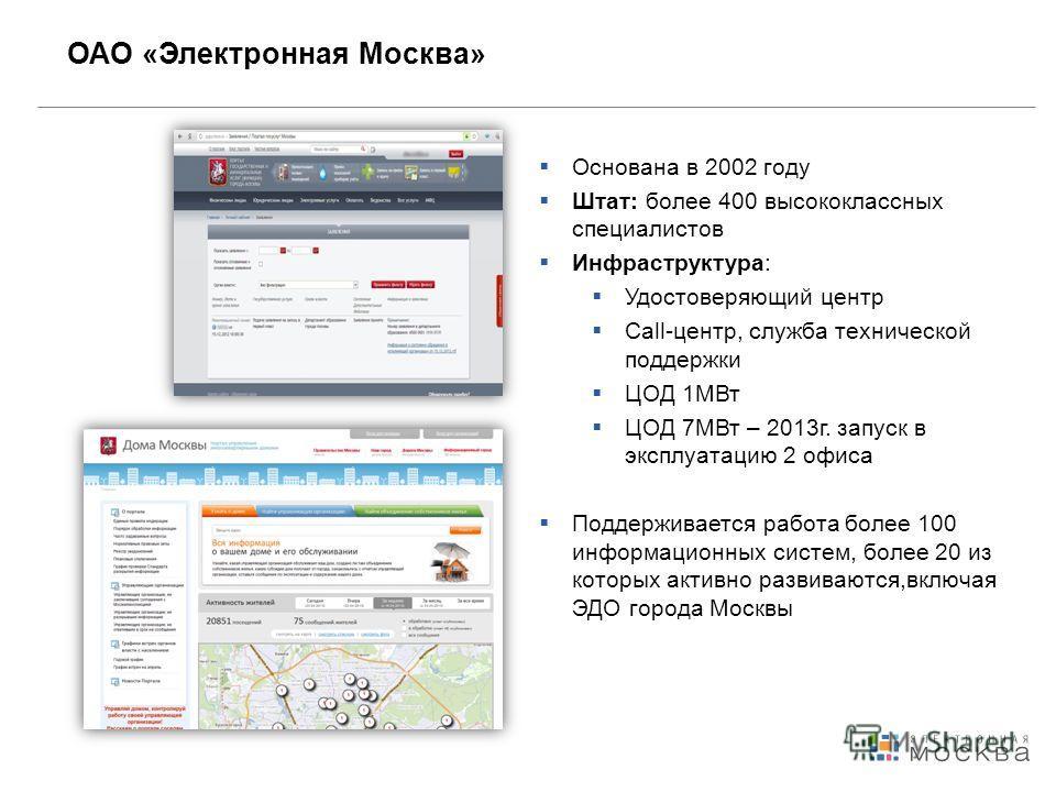 ОАО «Электронная Москва» Основана в 2002 году Штат: более 400 высококлассных специалистов Инфраструктура: Удостоверяющий центр Call-центр, служба технической поддержки ЦОД 1МВт ЦОД 7МВт – 2013 г. запуск в эксплуатацию 2 офиса Поддерживается работа бо