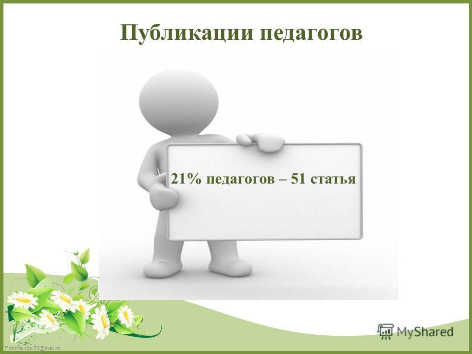FokinaLida.75@mail.ru Публикации педагогов 21% педагогов – 51 статья