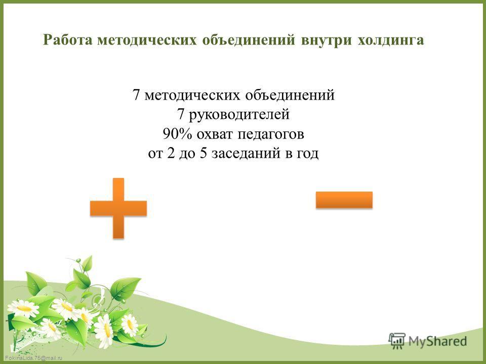 FokinaLida.75@mail.ru Работа методических объединений внутри холдинга 7 методических объединений 7 руководителей 90% охват педагогов от 2 до 5 заседаний в год