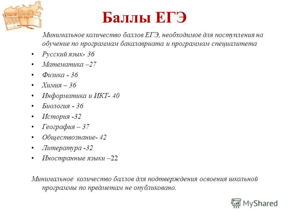 Баллы ЕГЭ Минимальное количество баллов ЕГЭ, необходимое для поступления на обучение по программам бакалавриата и программам специалитета Русский язык- 36 Математика –27 Физика - 36 Химия – 36 Информатика и ИКТ- 40 Биология - 36 История -32 География