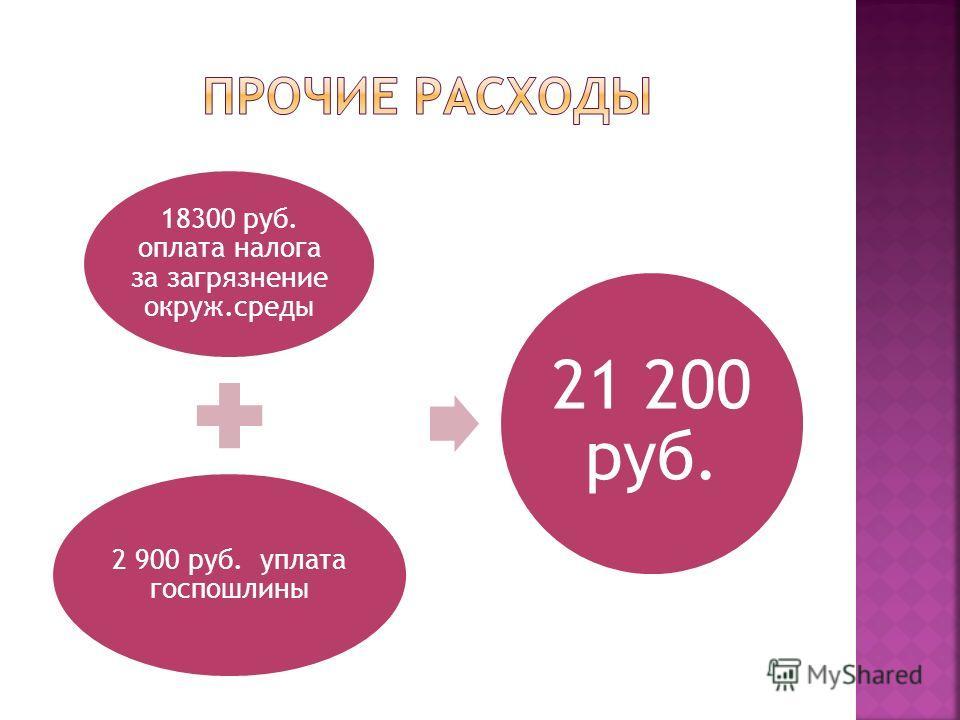 18300 руб. оплата налога за загрязнение окруж.среды 2 900 руб. уплата госпошлины 21 200 руб.