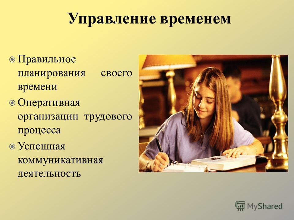 Правильное планирования своего времени Оперативная организации трудового процесса Успешная коммуникативная деятельность Управление временем
