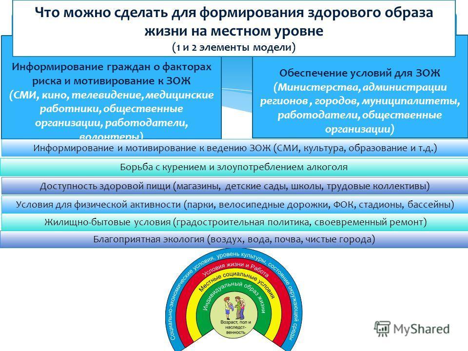 Социальные детерминанты здоровья 1 элемент модели Информирование граждан о факторах риска и мотивирование к ЗОЖ (СМИ, кино, телевидение, медицинские работники, общественные организации, работодатели, волонтеры) 2 элемент модели Обеспечение условий дл
