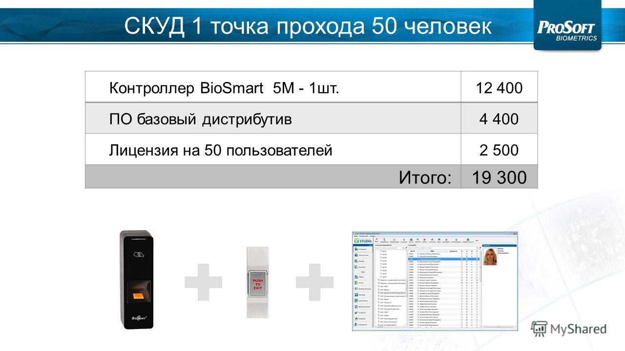Контроллер BioSmart 5M - 1 шт.12 400 ПО базовый дистрибутив 4 400 Лицензия на 50 пользователей 2 500 Итого:19 300 СКУД 1 точка прохода 50 человек