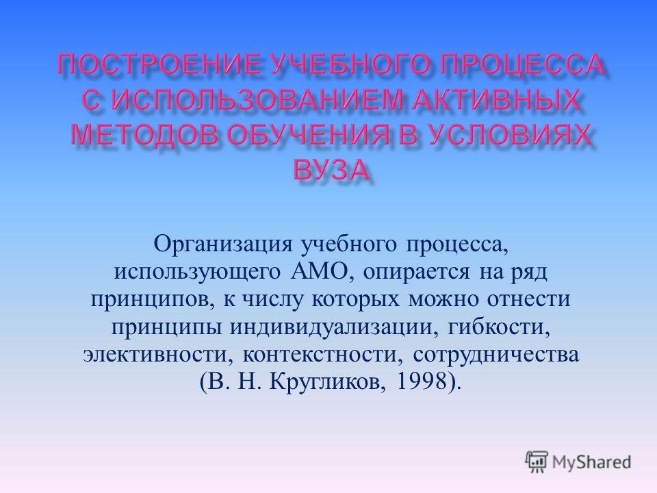 Организация учебного процесса, использующего АМО, опирается на ряд принципов, к числу которых можно отнести принципы индивидуализации, гибкости, элективности, контекст насти, сотрудничества ( В. Н. Кругликов, 1998).