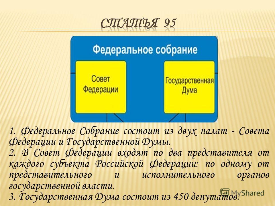 Федеральное Собрание - парламент Российской Федерации - является представительным и законодательным органом Российской Федерации.