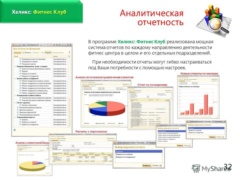 www.fitness1c.ru 32 Хеликс: Фитнес Клуб Аналитическая отчетность В программе Хеликс: Фитнес Клуб реализована мощная система отчетов по каждому направлению деятельности фитнес центра в целом и его отдельных подразделений. При необходимости отчеты могу