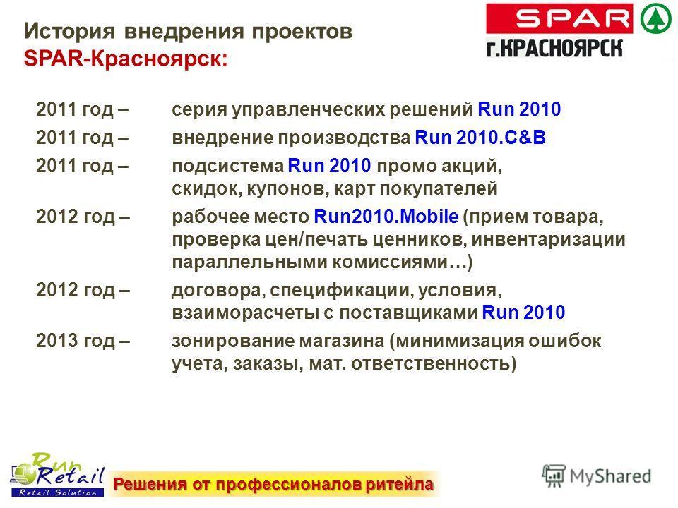 2011 год – серия управленческих решений Run 2010 2011 год – внедрение производства Run 2010.C&B 2011 год – подсистема Run 2010 промо акций, скидок, купонов, карт покупателей 2012 год – рабочее место Run2010. Mobile (прием товара, проверка цен/печать