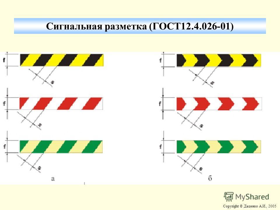 Copyright © Даценко А.И., 2005 Сигнальная разметка (ГОСТ12.4.026-01)