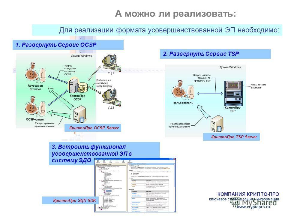 КОМПАНИЯ КРИПТО-ПРО ключевое слово в защите информации www.cryptopro.ru А можно ли реализовать: Для реализации формата усовершенствованной ЭП необходимо: 1. Развернуть Сервис OCSP Крипто Про OCSP Server 2. Развернуть Сервис TSP Крипто Про TSP Server
