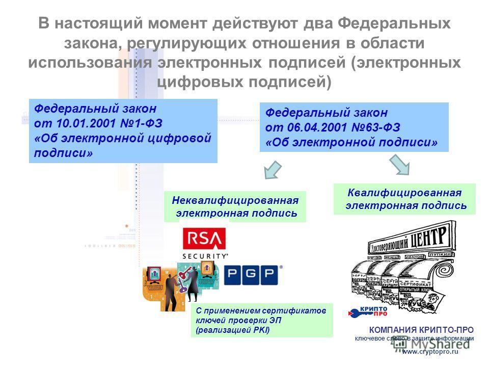 КОМПАНИЯ КРИПТО-ПРО ключевое слово в защите информации www.cryptopro.ru В настоящий момент действуют два Федеральных закона, регулирующих отношения в области использования электронных подписей (электронных цифровых подписей) Федеральный закон от 10.0