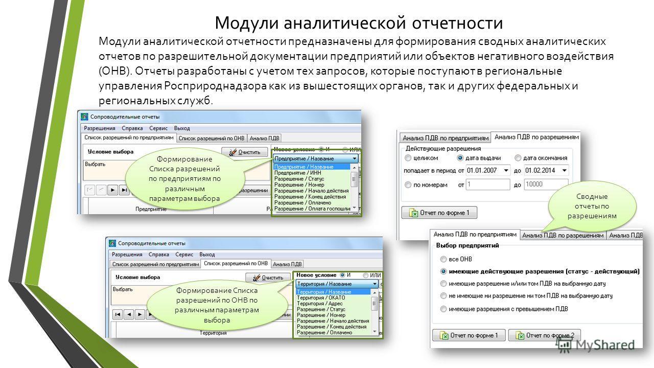 Модули аналитической отчетности Модули аналитической отчетности предназначены для формирования сводных аналитических отчетов по разрешительной документации предприятий или объектов негативного воздействия (ОНВ). Отчеты разработаны с учетом тех запрос