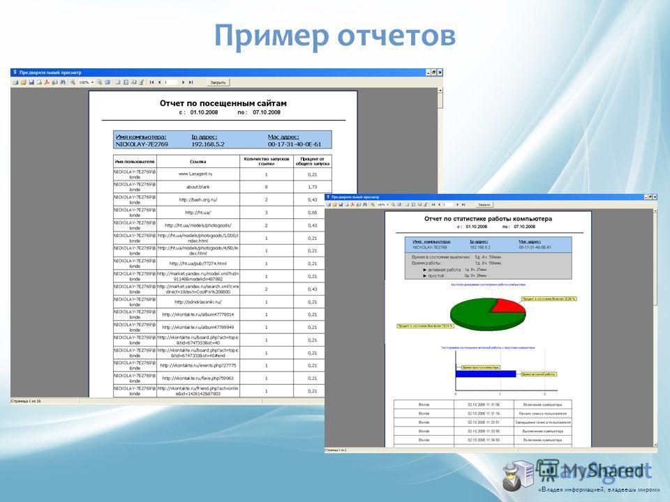 LanAgent «В ладья информацией, владеешь миром » Пример отчетов