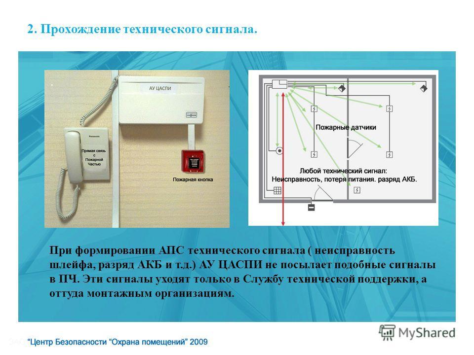 2. Прохождение технического сигнала. При формировании АПС технического сигнала ( неисправность шлейфа, разряд АКБ и т.д.) АУ ЦАСПИ не посылает подобные сигналы в ПЧ. Эти сигналы уходят только в Службу технической поддержки, а оттуда монтажным организ