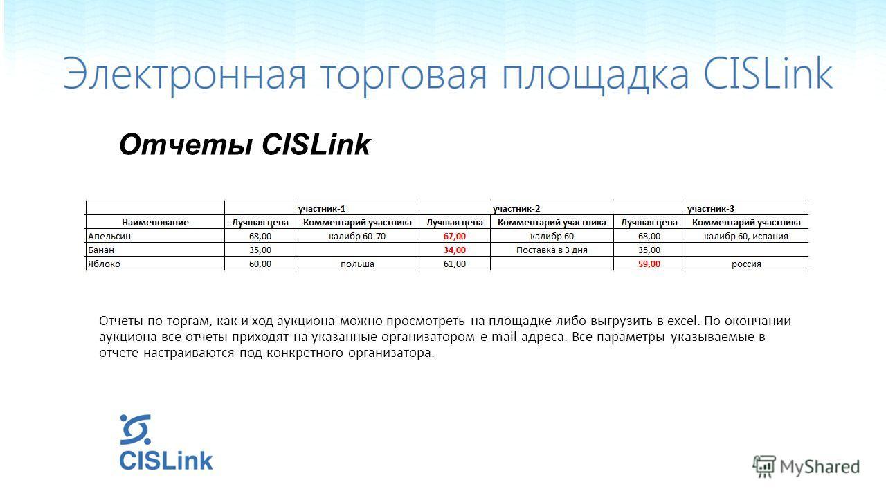 Отчеты CISLink Отчеты по торгам, как и ход аукциона можно просмотреть на площадке либо выгрузить в excel. По окончании аукциона все отчеты приходят на указанные организатором e-mail адреса. Все параметры указываемые в отчете настраиваются под конкрет