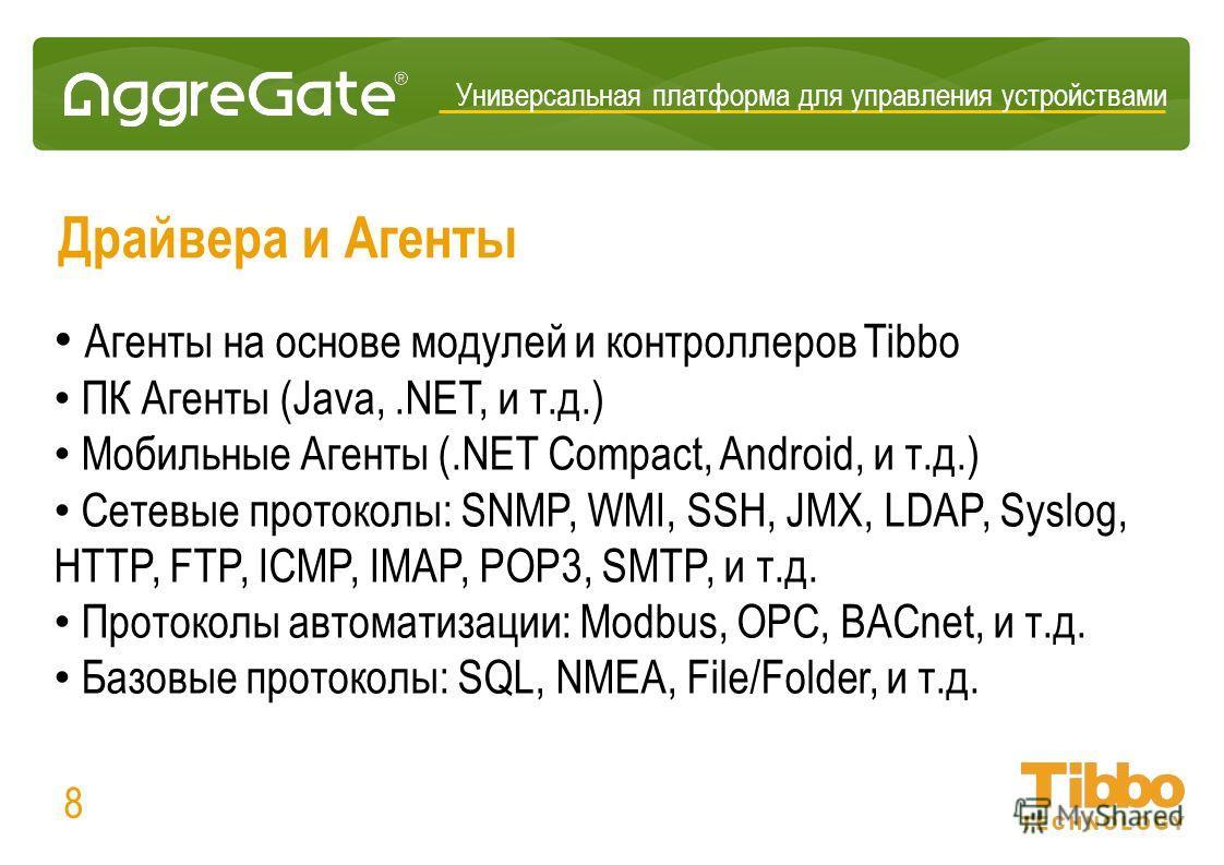Драйвера и Агенты Агенты на основе модулей и контроллеров Tibbo ПК Агенты (Java,.NET, и т.д.) Мобильные Агенты (.NET Compact, Android, и т.д.) Сетевые протоколы: SNMP, WMI, SSH, JMX, LDAP, Syslog, HTTP, FTP, ICMP, IMAP, POP3, SMTP, и т.д. Протоколы а